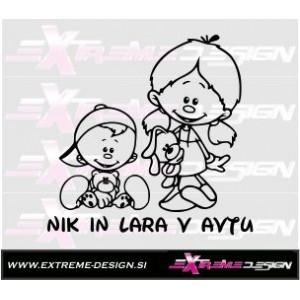Nalepka Otrok v avtu - Fantek in punčka