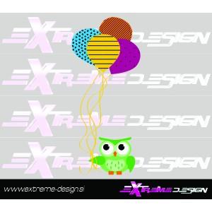 Stenska Nalepka Sova z baloni
